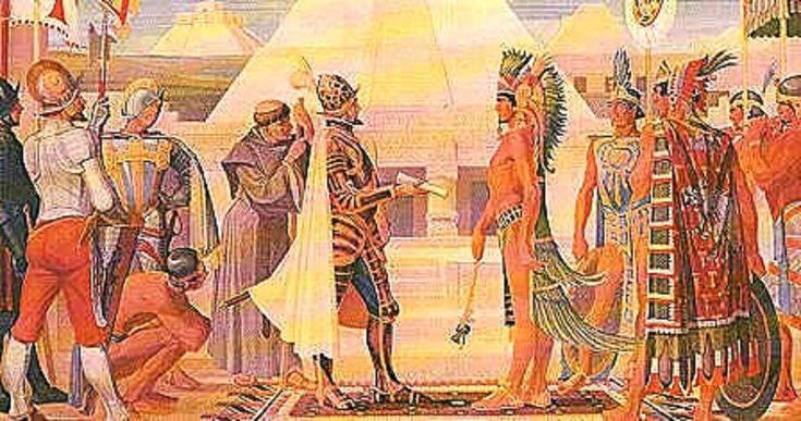 El 8 de noviembre de 1519 el emperador azteca Moctezuma II recibió al conquistador español Hernán Cortés en la Gran Tenochtitlán.