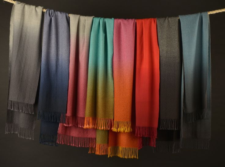 Baby Alpaca scarves. Hand dipped dyed in contrasting colors. Soft, warm and exciting!!
