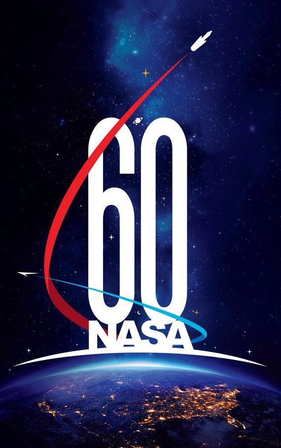 "NASA 60th anniversary logo The U.S> beneath a glowing horizon and a field of stars  across the background. Two stylized spaceships zoom around the lettering, giving a hint of retro sci-fi .The spaceship paths form another ""6,"" marking the decades since NASA opened. The red path ends with a depiction of NASA's Space Launch System rocket and Orion crew vehicle, ""A crescent moon, a ringed planet and a field of stars amid a nebula of light blue represent NASA's scientific underpinnings,"