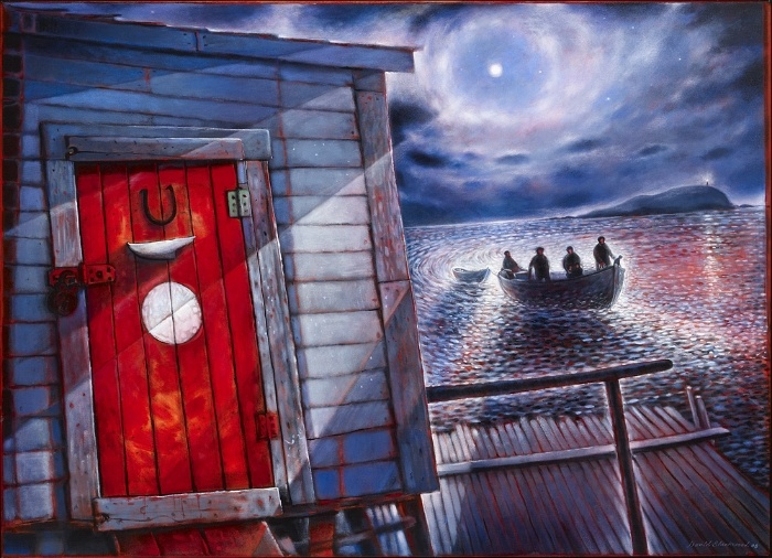 Home from Bragg's Island  (oil tempera on canvas) 35 x 48 inches by David Blackwood