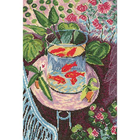 """Red Fish Counted Cross Stitch Kit, 9.75"""" x 14.5"""", 14 Count - Walmart.com"""