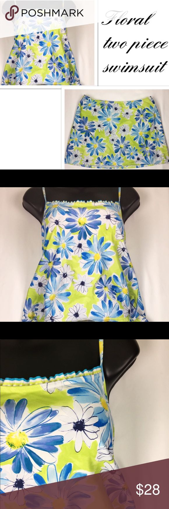 Floral flower tankini style two piece swimsuit Two piece tankini style floral flower swimsuit size 14 may run a little smaller (measurements available upon request) in perfect condition. No rips, stains, or tears. Smoke free home and fast shipping Swim
