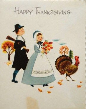 1960's Thanksgiving Card - Reminds me of the drawings in school books, etc. in the 60s