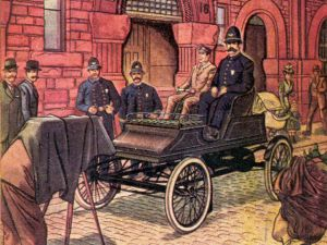 Boston's first police cruiser made its debut in 1903. It was the first dedicated police car in the country. At the time, there were no Boston police officers who knew how to drive the vehicle, which was a Stanley Streamer touring car. The department hired a chauffeur to operate it. The police officer on patrol actually sat on higher seat so that he could see over the tall fences that lined properties in Back Bay, and keep an eye out for any shenanigans.