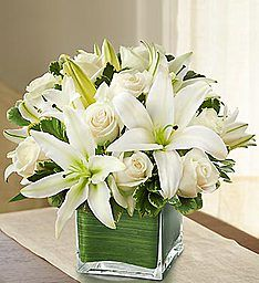 Modern Embrace™ White Rose and Lily Cube Lilies are Gorgeous.  I love the way that this is arranged.