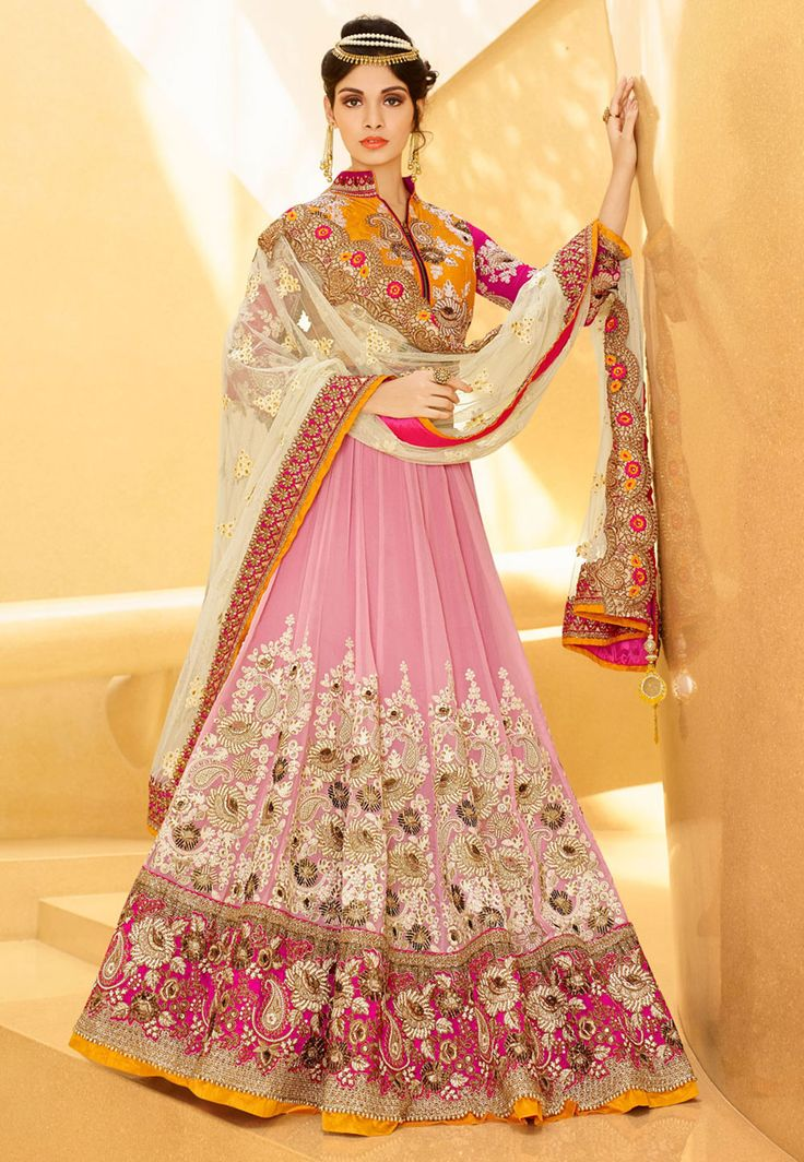 Light Old Rose Net Lehenga Choli With Dupatta Fancy