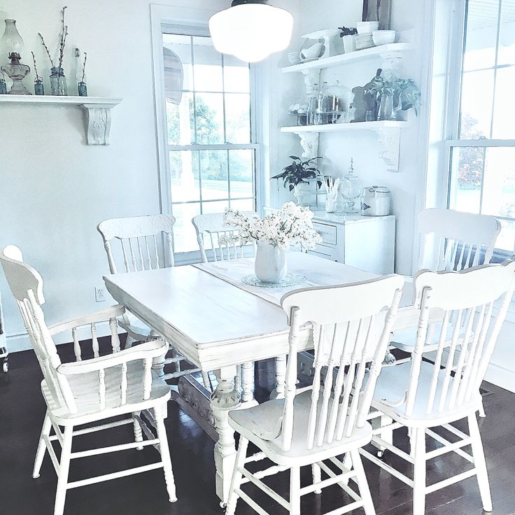 Country farmhouse white dining table in 2020 white