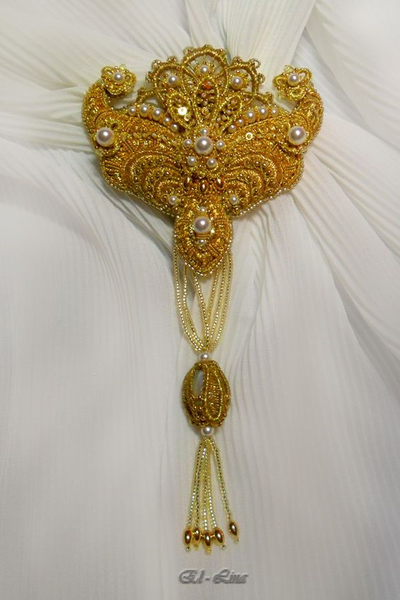 Goldwork embroidery, needle lace, beads. 17 cm with tassel, embroidered part 8 х 8,5 cm.