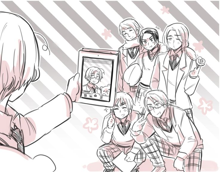 XD aww they all think he's taking a picture of them, but he's actually just taking a selfie :3