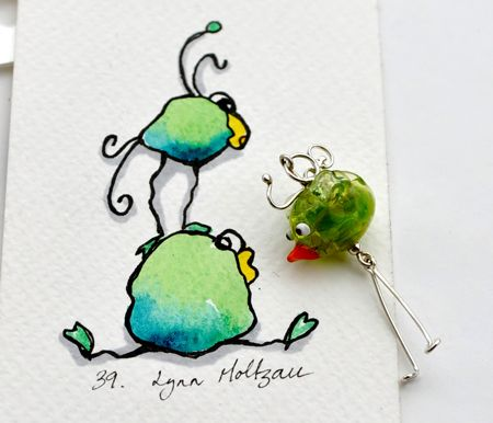 Dugle earrings, singles and pairs, pendants and buttons, procelain and  lampwork. Sterling silver. With each piece you shop from the Duglebirds /Duglefuglene you get an original watercolor by Lynn Moltzau.    Visit http://eplamarked.epla.no