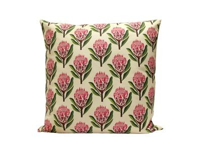 Pretty Proteas Cushion Cover R450.00 http://www.petrichorstudio.com/products/cushion_covers/HMC010/