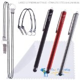 3-Pack of Premium Large 5.3 Universal Capacitive Stylus Touch Screen Pen for Ipad 1 2 3 Ipod Iphone 4 4S 3G 3GS Motorola Xoom Samsung Galaxy Tab 8.9 10.1, Blackberry Playbook HTC Flyer Evo View Tablet Sony Playstation PS VITA - With 2x2 Detachable Tether