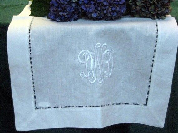 White Linen Table Runner 16x36 Hemstitched by EmbroiderybyLinda, $30.00