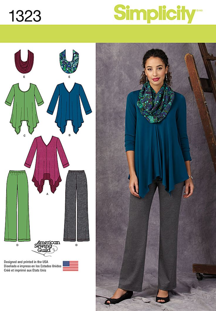 Stay comfortable and chic with this sportswear pattern. Draped knit top has option of contrast band, and can be worn with pull on knit pants and stylish infinity scarf. Simplicity Sewing Pattern 1323.