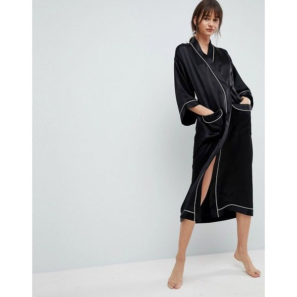 ASOS WHITE 100% Silk Dressing Gown (245 CAD) found on Polyvore featuring women's fashion, dresses, gowns, black, v neck t shirt dress, silk ball gown, v-neck dresses, color block dresses and silk evening dresses