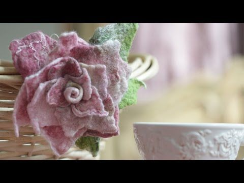 """How to make handmade fabric and a unique accessory """"""""Felted Rose""""  This FREE video tutorial demonstrates how to create a unique handmade accessory - Felted Rose - using """"Tea Rose"""" kit. #tutorial #diy #felt"""