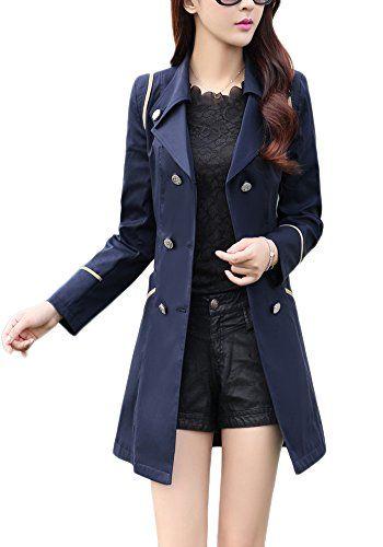 4c8aba279e6c 2017 Femme Manteau Trench Double Boutonnage Col Droit Trench coat veste  printemps et d automne léger mince manches longues pour femmes léger la  modèle ...