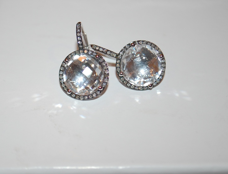Black rhodium white quartz earrings with diamonds.Black Rhodium, Quartz Earrings, Black Gold, White Quartz, Rhodium White