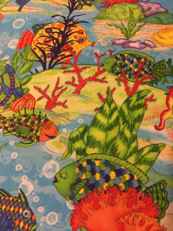 Quilted Fish Fabric Ocean Find and Seek by Wilmington Prints
