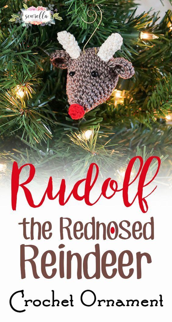 Rudolf The Rednosed Reindeer Crochet Ornament By Ashleigh - Free Crochet Pattern - (sewrella)
