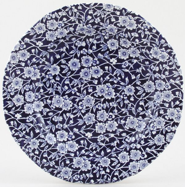 Burleigh Dark Blue Calico Salad or Dessert Plate 21.5cm diameter x1