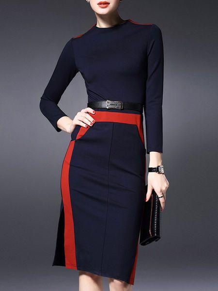 LONYUASH Slit Paneled Midi Dress with Belt @stylewe