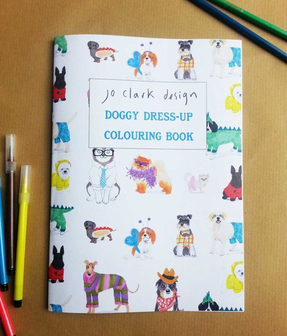 white coloring book dog dress up activity book