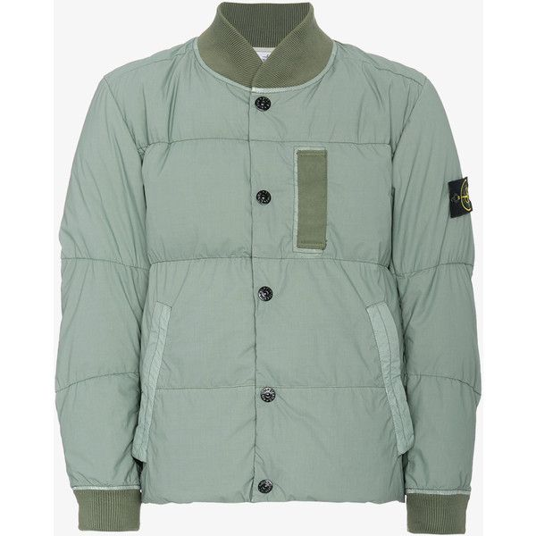Stone Island Mussola Gommata Bomber Jacket ($735) ❤ liked on Polyvore featuring men's fashion, men's clothing, men's outerwear, men's jackets, mens green bomber jacket, mens cotton jacket, mens cotton bomber jacket and mens green jacket