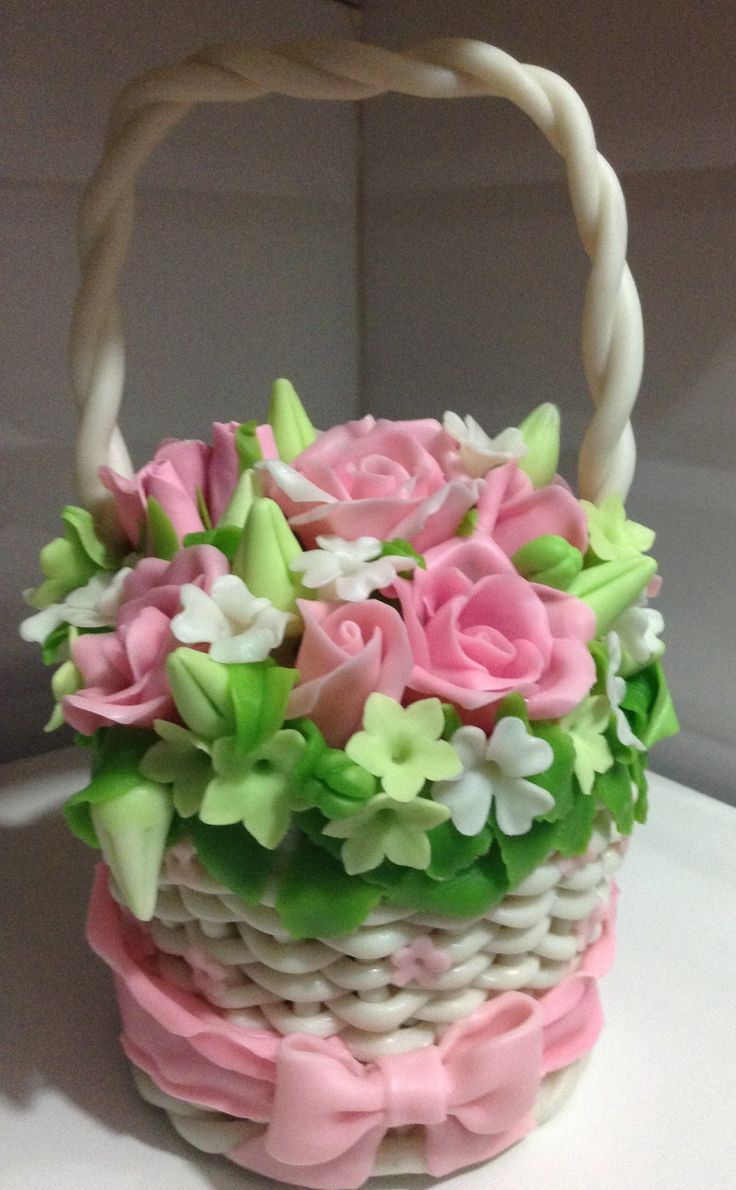 Basket of pink roses for ur love made with cold porcelain clay