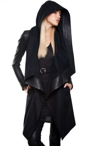 Draped wool with leather hood trim, fitted leather sleeves, and built in waist belt closure.