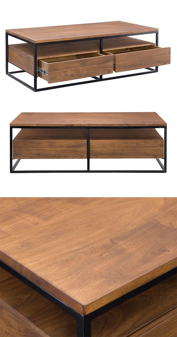 With a clean, contemporary design, this cocktail table is sure to anchor your modern living room. The Juneau Coffee Table boasts a beautifully finished solid acacia wood body with sleek iron framing.