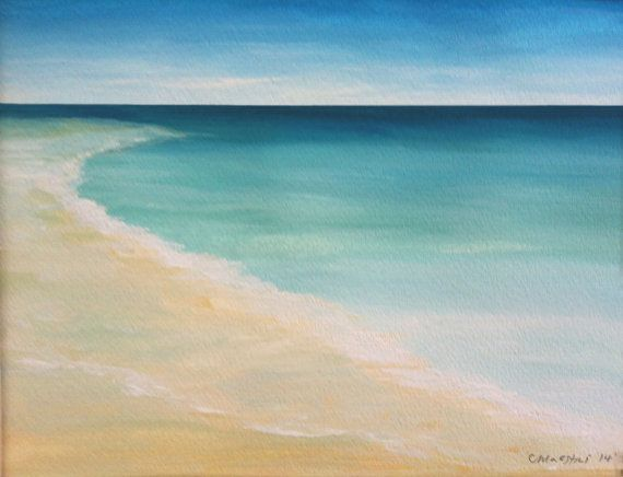 Watercolor Beach Painting Ocean Painting Framed Modern Beach Art  Contemporary Abstract Seascape  Seascape Beach Original Seascape on Etsy, $49.00
