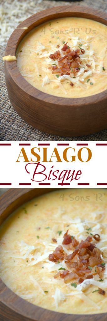 When the weather turns cold we turn to a big ol' bowl of comfort. For us, that means we're lucky enough to cozy up to a big old bowl of this creamy Asiago Bisque. Topped with crisp, crumbled bacon, freshly shredded Asiago Cheese, and parsley-- each bite is is meant to soothe the soul and warm you up from the inside out!