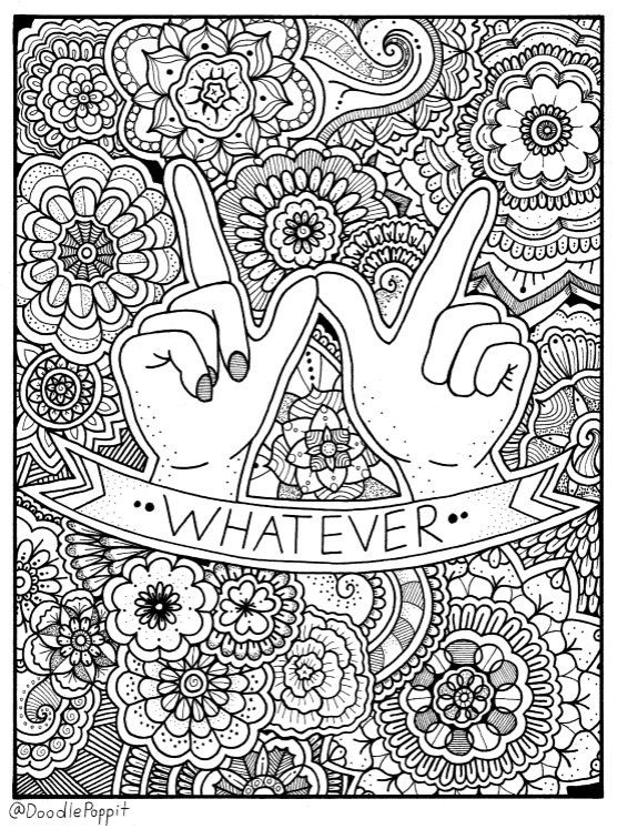 Coloring Page Book Pages Printable Adult Hand Drawn Detailed Inspirational Doodle Art Therapy Instant Download Print 1