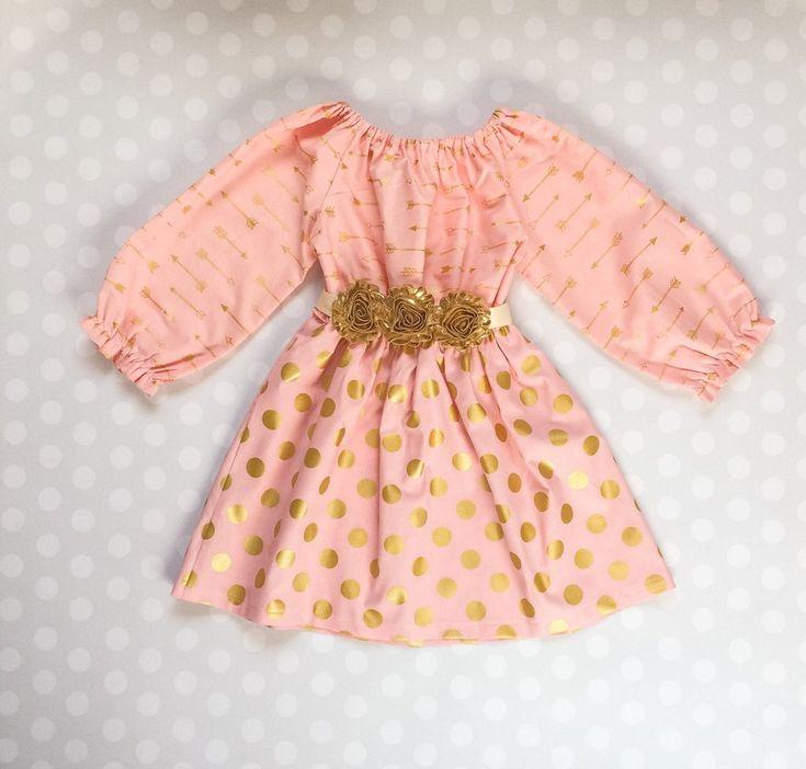 blush pink arrow and polka dot spring dress for girls toddler valentine outfitsvalentines outfitspolka dot