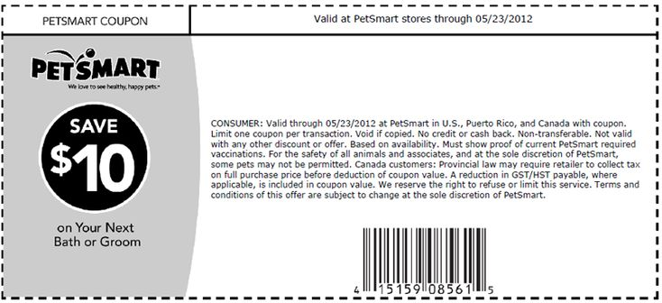 PetSmart 10 off Grooming Printable Coupon Print coupon