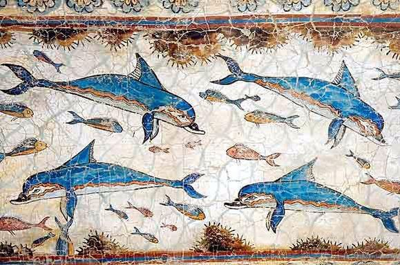 Fresco of Dolphins from the bronze age excavations in Akrotiri, Santorini. Akrotiri is a well-preserved Minoan Bronze-Age settlement which is in fact one of the most important prehistoric settlements in Greece #santorini #oia #culture #mustsee #attractions #history