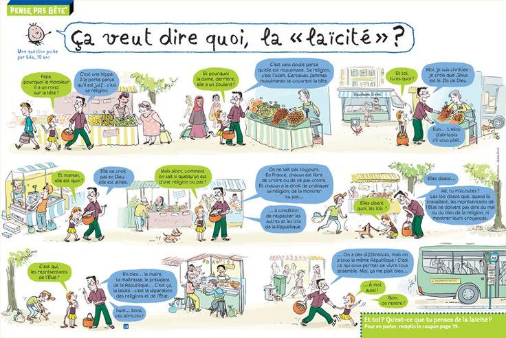 """Rubrique """"Pense pas bête"""" : """"Ça veut dire quoi la laïcité"""", Astrapi du 1er juin 2015. Textes : Christophe Nicolas, illustrations : Zelda Zonk."""