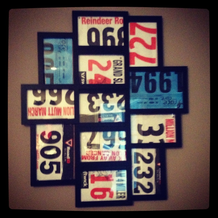 A great way to display race bibs!