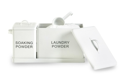 Laundry/Soaking Powder Set - White Two lovely containers to store your laundry powders in. Product Code: SSI240. Available from Howards Storage World.
