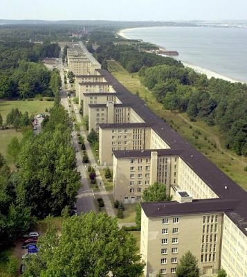Prora Hotel, Rugen, Germany - built 1936-39 as a Nazi beach resort but was never used for that. Has 10,000 rooms with windows facing the sea.