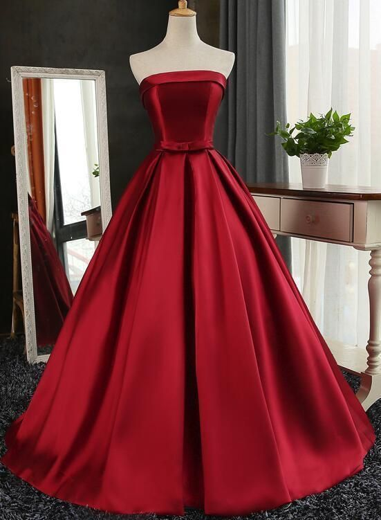 Wine Red Satin Long Gown Dark Red Prom Dresses Prom
