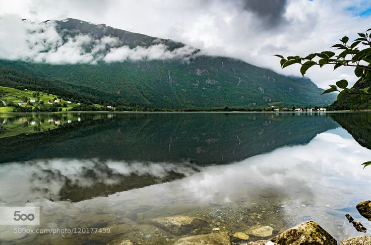 Mirror at Granvin - Pinned by Mak Khalaf I like it early in the morning clouds between the mountains Landscapes CloudsGranvinHordalandHousesMirrorMountainNorwayVacationWaterHardangervegen by Leo_van_der_Sanden