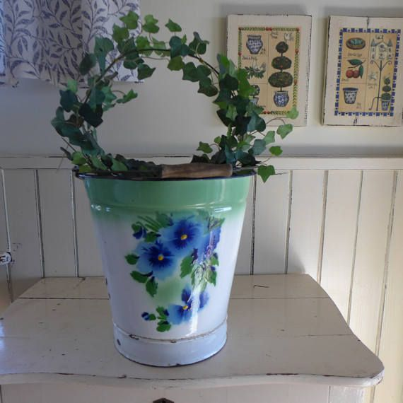 Enamelled white bucket with flowers, Metal container, vintage, plate, bowl, brocante, container ,retro kitchen, flowers