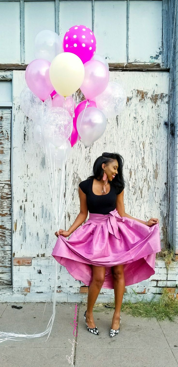 Pink Adult Birthday Balloon  Photoshoot  Phoenix, Downtown, Industrial, Arizona, Fuchsia, Feather Earrings, African American, Black Girl, Feminine, Heels, Pumps, Clear, Silver, Balloons, Wood, White, City, Urban, Natural Hair, Woman, Women, Girly, Polka dots, Twenties, Bubble Skirt, Bow, Photography, Samsung s8, Adobe Lightroom, Snapseed