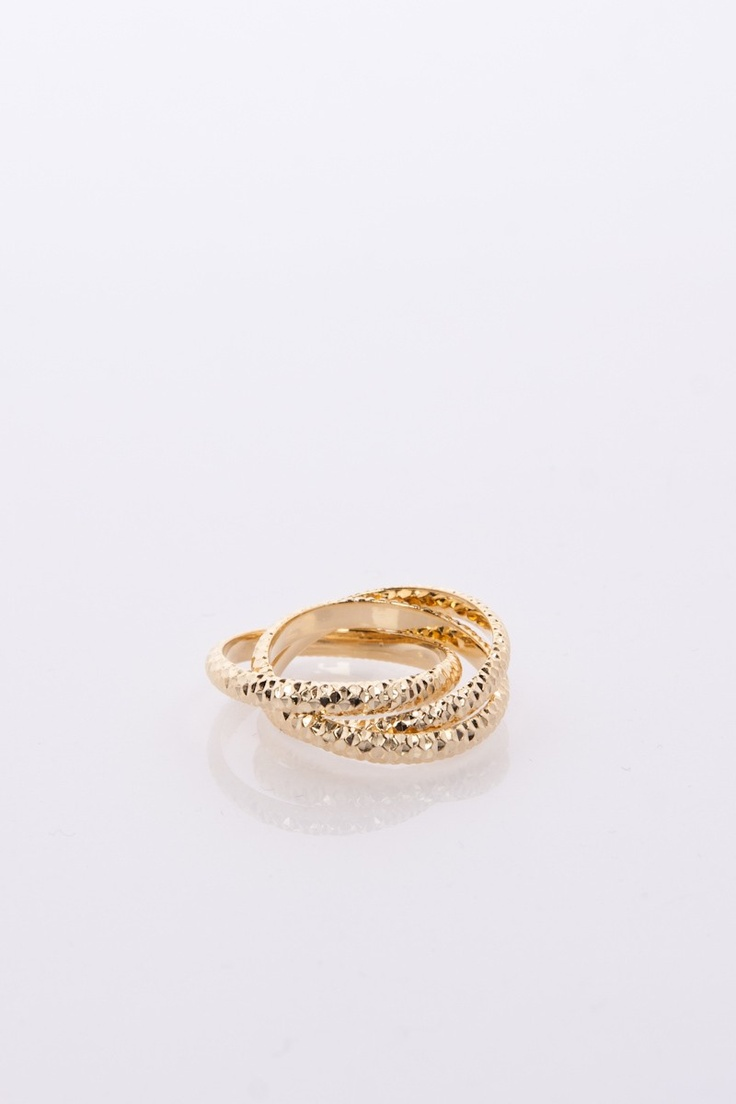 ShopSosie Style : Textured Triplet Ring in Gold