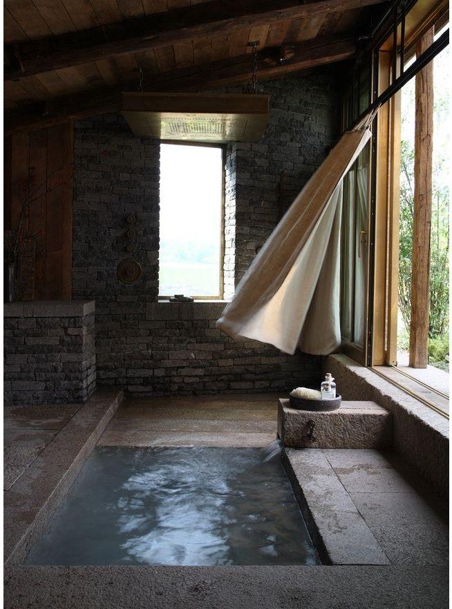 Serene soaking tub in bathroom.