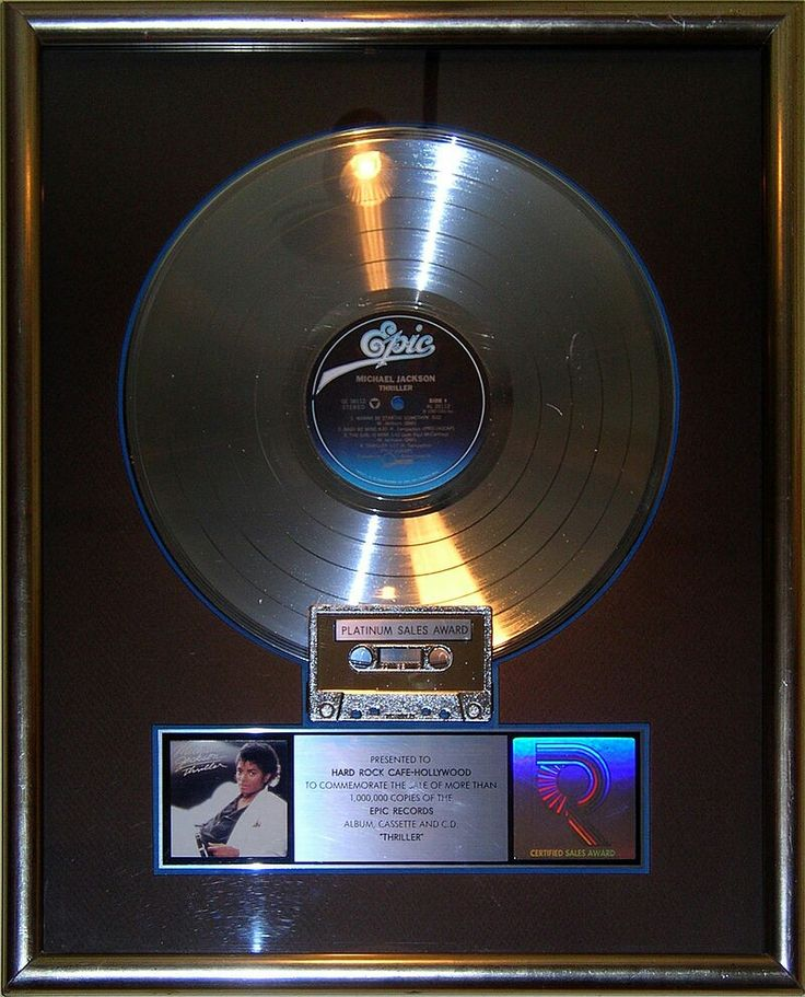 Thriller platinum record on display at the Hard Rock Cafe, Hollywood in Universal City, California.