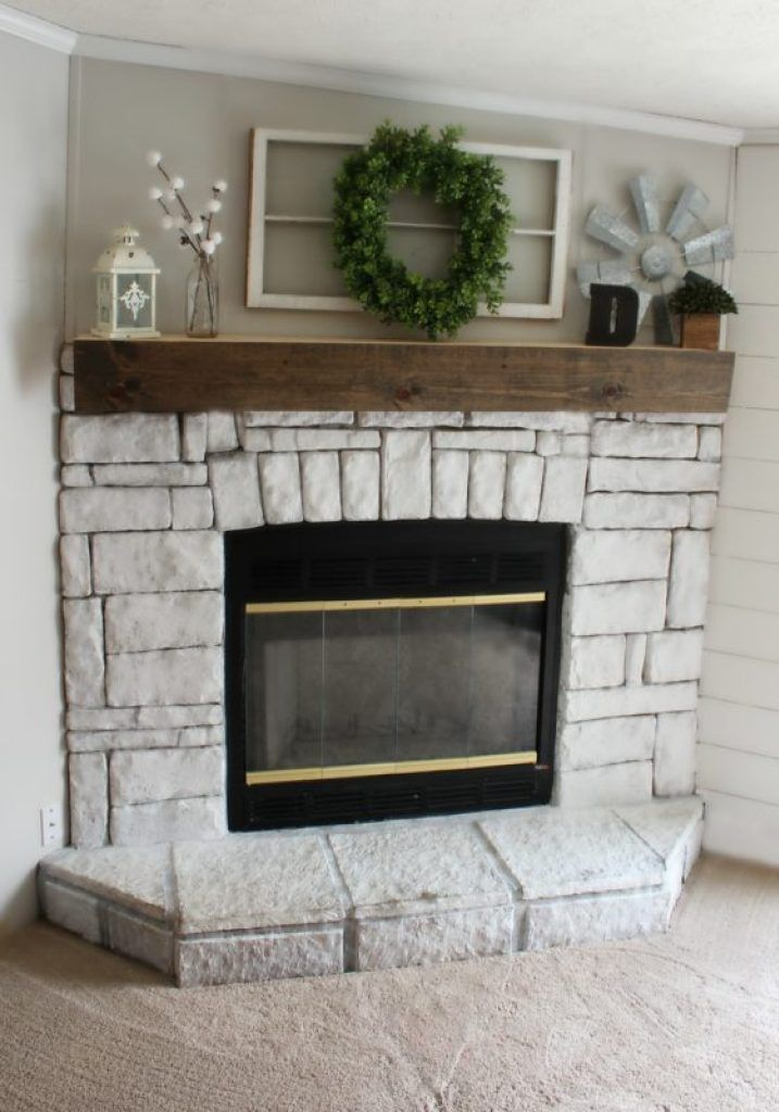 How I Whitewashed My Fireplace With Chalk Paint And A Spray Bottle Five Little Bears White Wash Fireplace Fireplace Chalk Paint