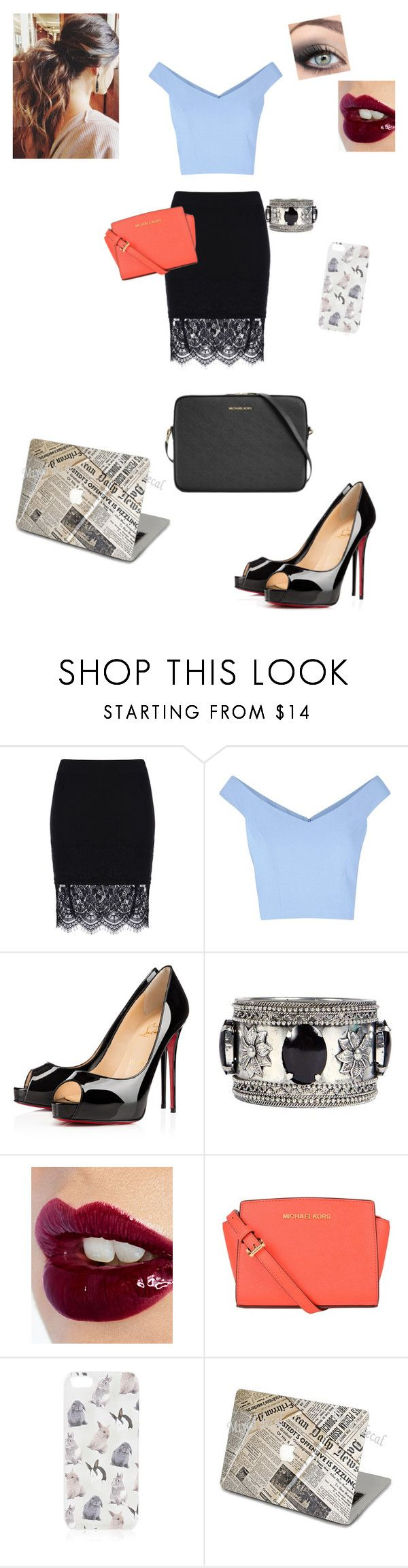 """""""If I was felicity smoke."""" by blackstar1259 ❤ liked on Polyvore featuring Christian Louboutin, Boohoo, Charlotte Tilbury, MICHAEL Michael Kors and Topshop"""
